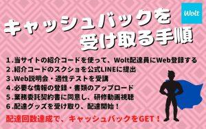 【Wolt(ウォルト)配達員の登録方法】キャッシュバックを受け取る手順